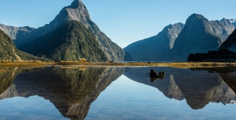 Milford Sound with a mountain in the background