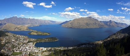 a view of a body of water with Lake Wakatipu in the background