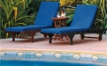 a table topped with a blue umbrella