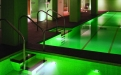 a room with a green light