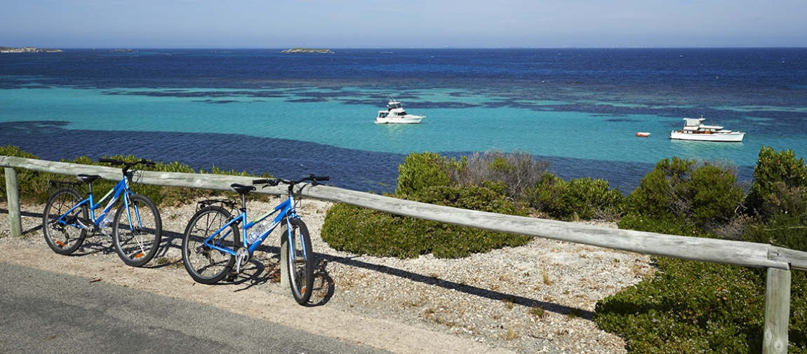 a bicycle is parked next to a body of water