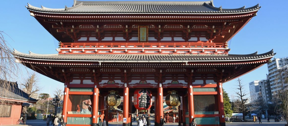 a large building with Sensō-ji in the background