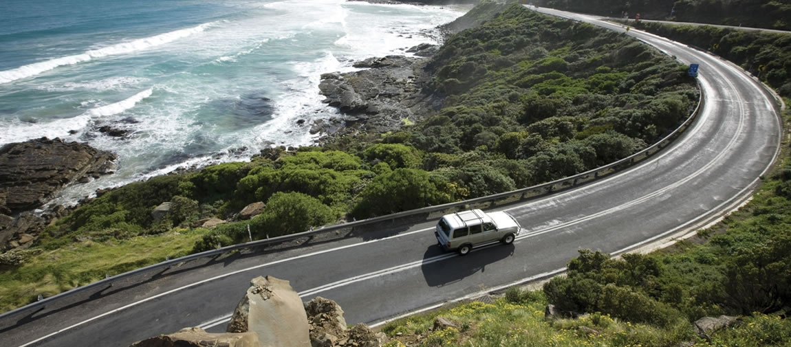 a car parked on the side of Great Ocean Road road