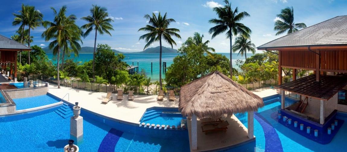 a pool next to a palm tree on a beach